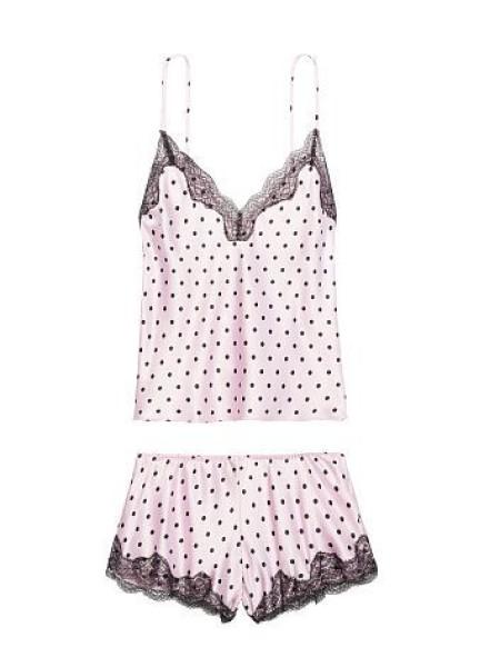 Пижама Victoria's Secret Satin Cami PJ Set Pink & Black dot