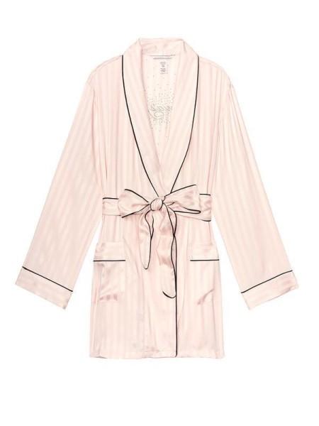 Сатиновый халат Victoria's Secret Rhinestone Satin Kimono Pink fizz