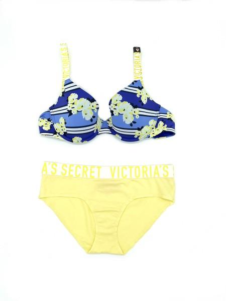Комплект белья Виктория СикретLogo Bra T-shirt Lightly Lined demi Logo straps bra set