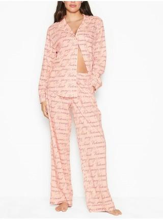 Пижама Victoria's Secret Cotton LongPJ Set Pink logo VS