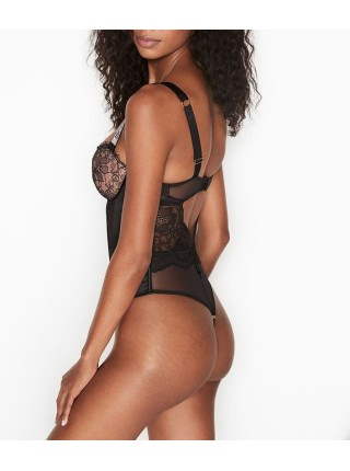 Боди Виктория Сикрет Very Sexy Black Lace Logo Shine Strap Teddy
