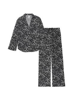 Пижама Victoria's Secret FlannelLong PJ Set Black Hearts