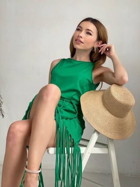 Платье с бахромой Twishi зеленого цвета