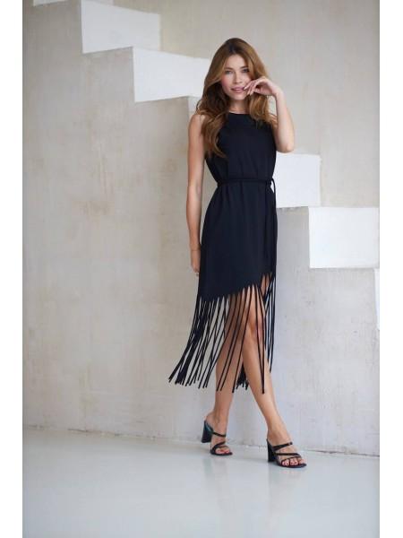 Платье с бахромой Twishi черного цвета