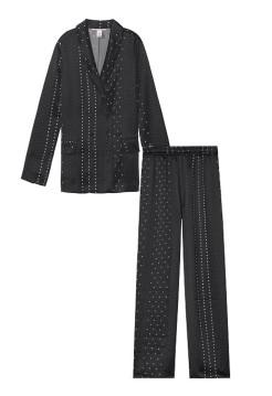 Пижама Victoria's Secret The Satin Long PJ Set Black & White dot