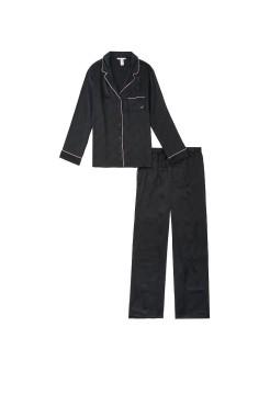 Сатиновая пижама VS Satin Long Pj Set Black