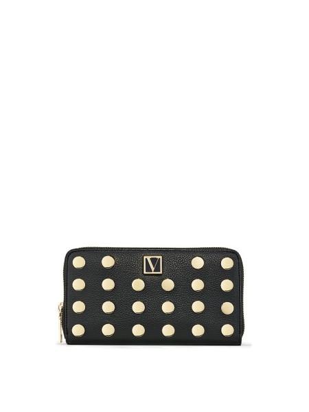 Victoria's Secret The Victoria Zip Wallet Black & Gold dot