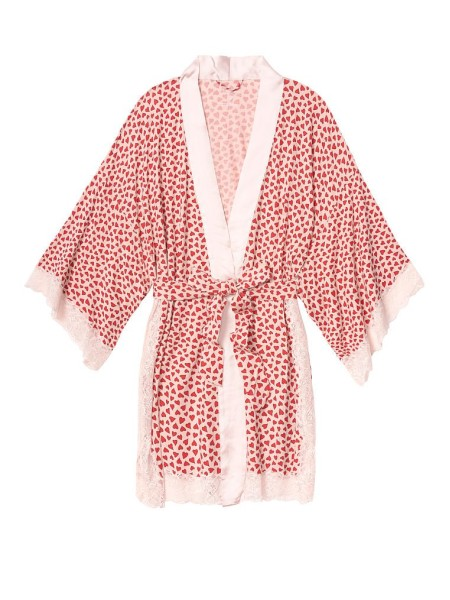 Халат Heavenly by Victoria's Secret Modal White Lace print Red hearts
