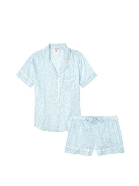Пижама Victoria's Secret Cotton Short Pj Set Sky Blue Leopard