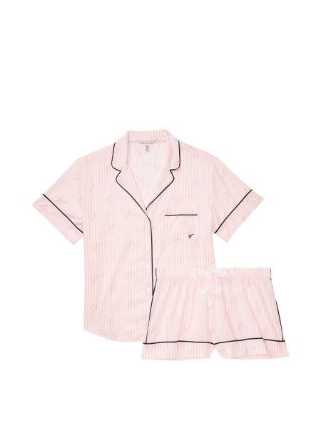 Пижама Victoria's Secret Cotton Short Pj Set Pink Stripes