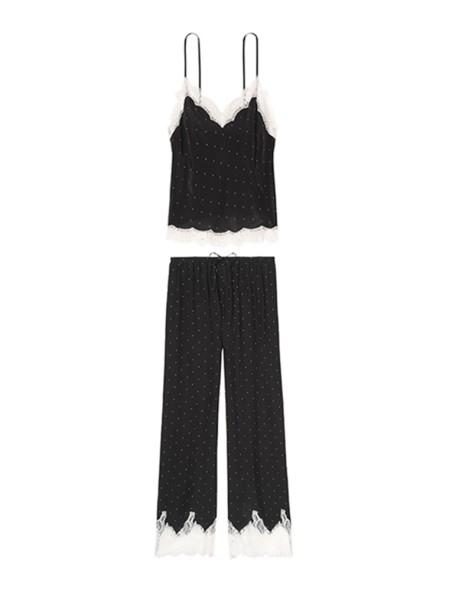 Пижама Victoria's Secret Long Black Cami Set White Lace