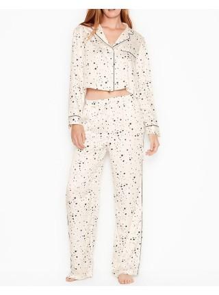 Пижама Victoria's Secret Satin Cropped Long PJ Set Stars