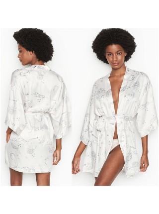 Халат Victoria's Secret The Satin White Kimono print Stars