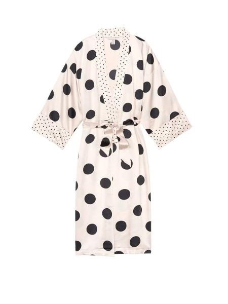 Халат Victoria's Secret The Satin White Kimono print Black Dot
