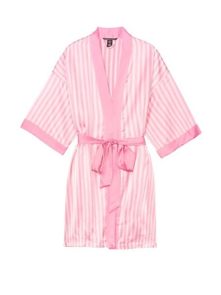 Сатиновый халат Виктория Сикрет Flounce Satin Robe Pink Stripes