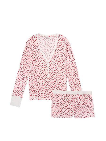 Пижама Виктория Сикрет ThermalPJ Set Print Red Hearts
