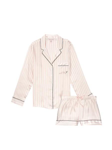 Сатиновая пижама VS Satin Short Pj Set Signature Stripes