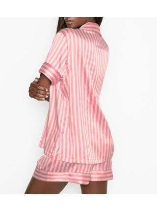 Сатиновая пижама VS Satin Short Pj Set Signature Stripe