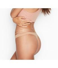 Трусики стринги Victoria's Secret Cotton Logo Thong Panty Beige