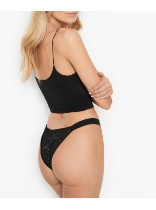 Трусики Victoria's Secret Black in Lace Brazilian Panty