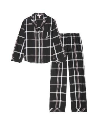 Пижама Victoria's Secret Flannel Long PJ Set Black Big Plaid