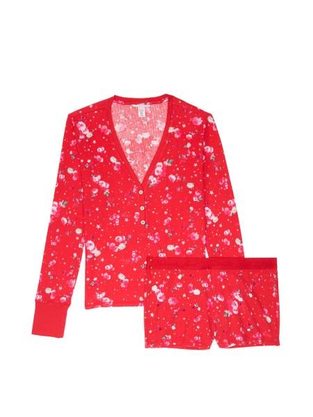 Пижама Victoria's Secret ThermalPJ Set Red print Flowers