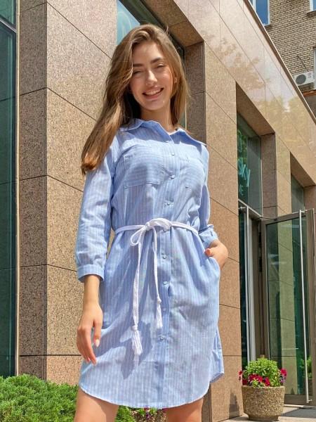 Голубое платье-рубашка Zephyros Cotton