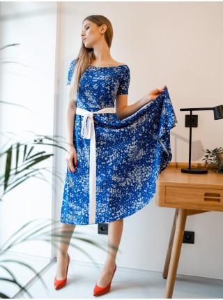 Летнее платье Zephyros с вырезом лодочки - принт синий василек