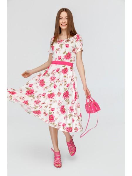 Летнее платье Zephyros принт розовые цветы