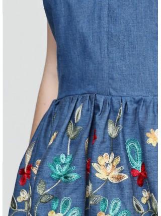 Платье-комбинезон Zephyros из джинсового батиста, цветочная вышивка