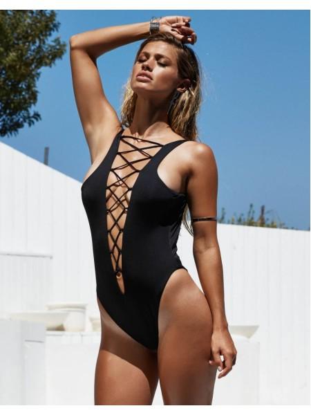 Купальник монокини Beach Bunny Swimwear Strappy Black