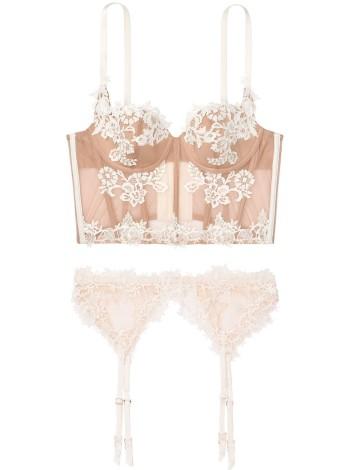 Комплект белья Victoria's Secret Beige Lace Bra/Garter/Panty