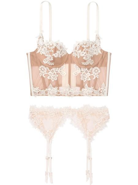Балконетт Victoria's Secret Beige Lace Bra/Garter/Panty