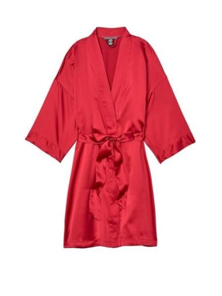 Халат Victoria's Secret Satin Robe Kimono Lipstick