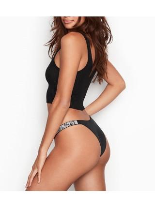 Трусики Victoria's Secret Very Sexy Crystal Logo Shine Strap Brazilian Black panty