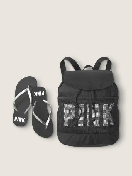 Набор для пляжа Victoria's Secret PINK рюкзак и шлепки в размере М