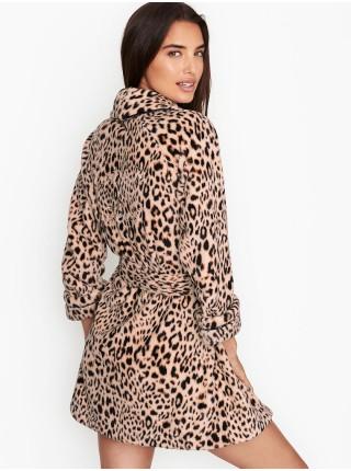 Халат Victoria's Secret Logo Short Cozy Robe Leopard