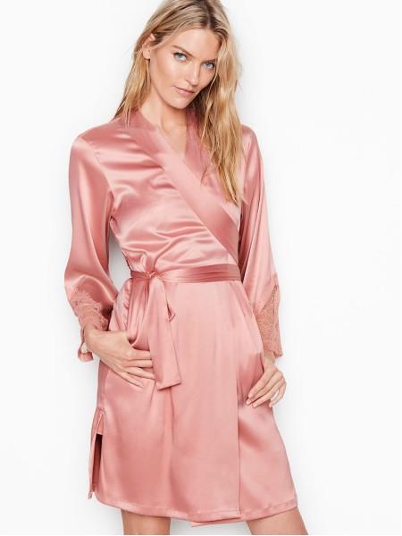 Халат Victoria's Secret Chantilly Lace Kimono Robe Rose Tan
