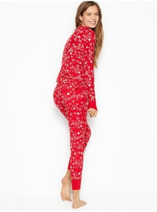 Пижама Victoria's Secret Thermal Long PJ Set Red Starry Sky