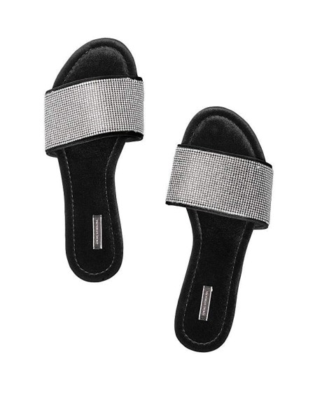 Домашние тапочки Victoria's Secret Slippers Velvet Rhinestones Slides
