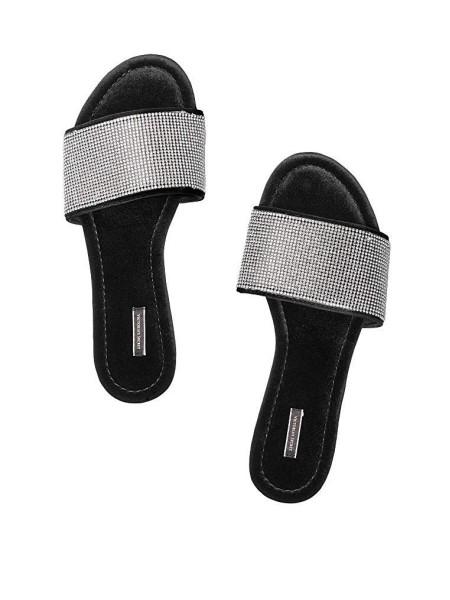 Домашние тапочки Victoria's Secret Slippers Velvet Rhinestones Slides