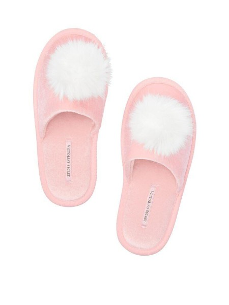 Домашние тапочки Victoria's Secret Pink Slippers pom-pom