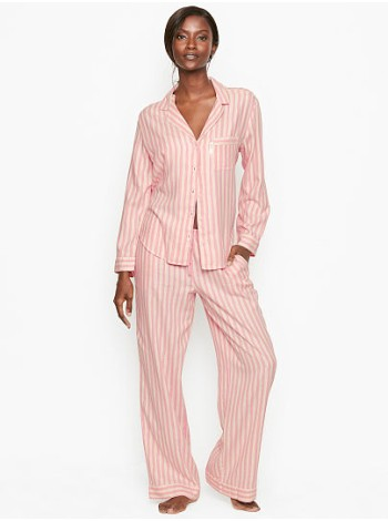 Пижама розовая в полоску Victoria's Secret ShimmerFlannelLong PJ Set Pink Stripe