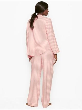 Пижама Victoria's Secret ShimmerFlannelLong PJ Set Pink Stripe
