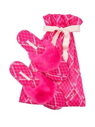 Домашние тапочки Victoria's SecretSignature Satin Slipper Fuchsia