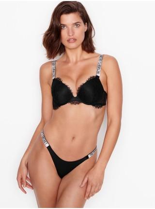 Комплект бельяVictoria's SecretVery Sexy Shine Strap Black Lace push-up bra