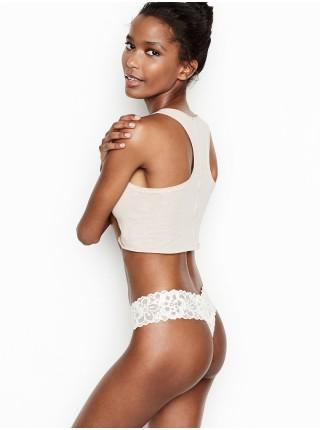 Трусики Victoria's Secretу The Lacie Lace-up Thong Panty Coconut White