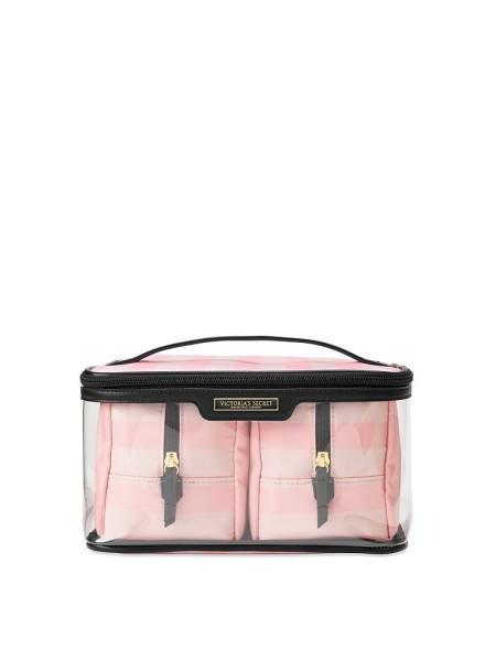 Набор косметичек три в розовую полоску Glam BagTrio in Signature Stripe