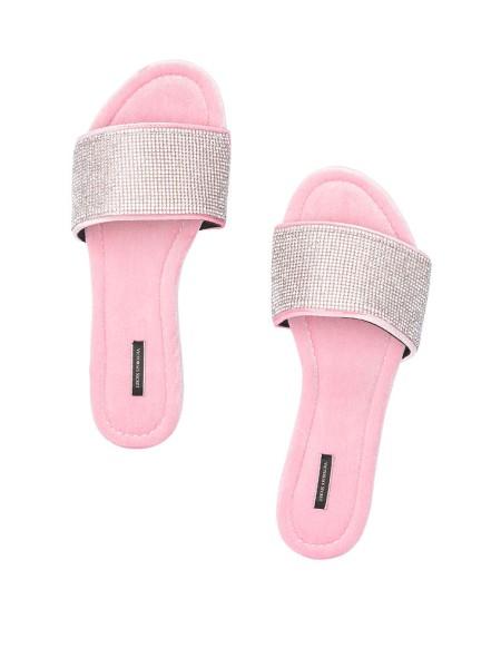Домашние тапочки Victoria's Secret Pink Slippers Velvet Rhinestones Slides