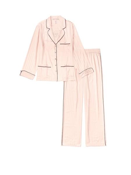 Пижама розовая в полоску Виктория Сикрет Rhinestone